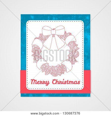 Toys on christmas tree - wreath. Christmas collection. Christmas collection. Doodle stylized vector illustration.