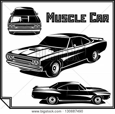 Muscle car monochrome set vector poster illustration