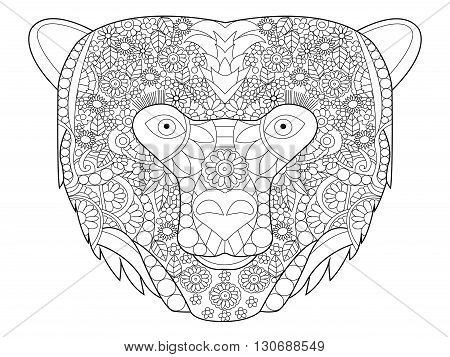 Bear head coloring book for adults vector illustration. Anti-stress coloring for adult. Zentangle style. Black and white lines. Lace pattern