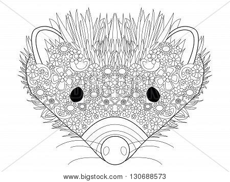Hedgehog head coloring book for adults vector illustration. Anti-stress coloring for adult. Zentangle style. Black and white lines. Lace pattern