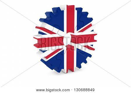 British Industry Concept - Flag Of The Uk 3D Cog Wheel Puzzle Illustration