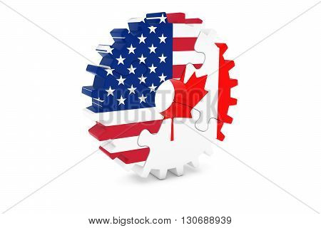 American And Canadian Cooperation Concept 3D Illustration
