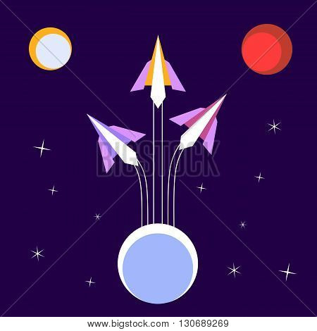 Paper Rockets Flight. Vector Poster Concept of expeditions to solar planets. Illustration of space moon planet Mars. Idea for design on theme of cosmos galaxy star sky. Vector illustration