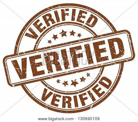 verified brown grunge round vintage rubber stamp