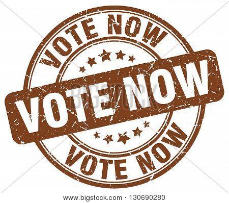 vote now brown grunge round vintage rubber stamp