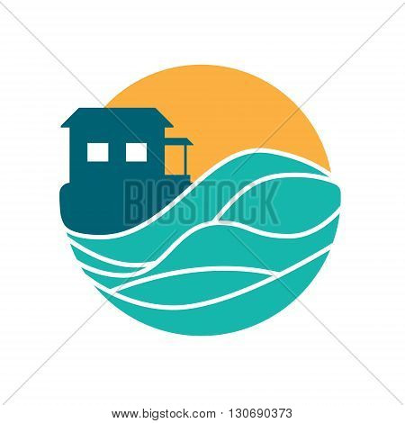 Island cottage vector round logo hawaii yellow blue