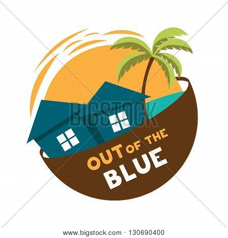 Island cottage vector logo round yellow blue green brown