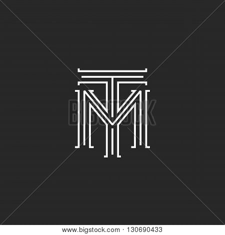 Monogram Hipster Initials Tm Logo Letters, Overlapping Connection Couple Merger T M Letters Thin Lin
