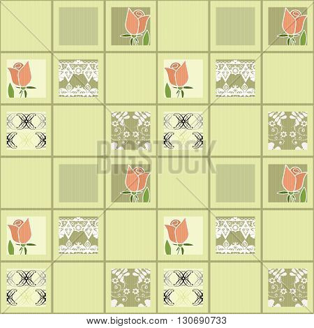 Patchwork floral roses pattern background with decorative elements print