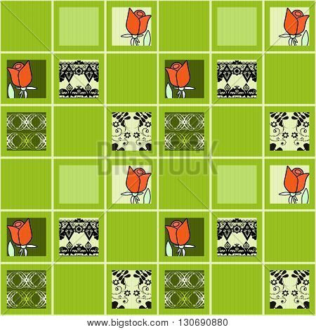 Patchwork floral roses pattern green background with decorative elements