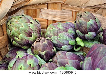 natural fresh artichokes in woven basket macro