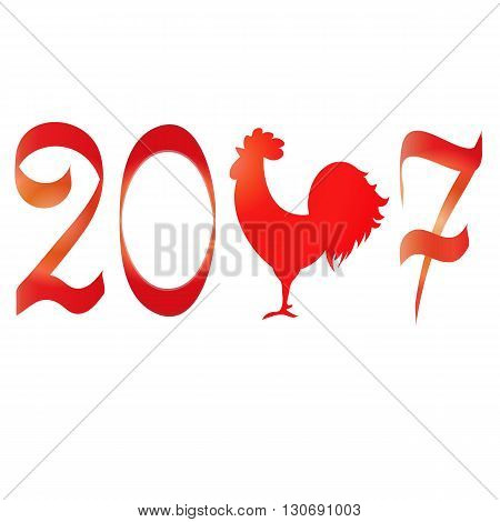 Icon fire rooster, symbol of Chinese new year 2017. Flat design vector illustration icons and logos. red on white