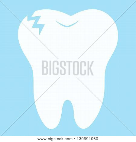 cartoon tooth smiling Card little happy Tooth Fairy, white on a blue background, teeth vector icon illustration, first tooth logo
