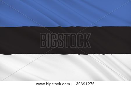 The National Flag of Estonia, tricolor - blue, white, black