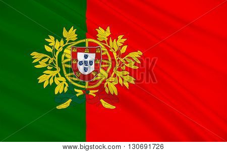 Flag of Portugal is a country on the Iberian Peninsula in Southwestern Europe