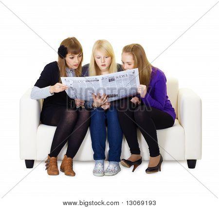 Three Girlfriends Teen Read The Newspaper