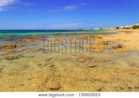 The most beautiful sandy beaches of Apulia. Salento coast: Torre Pali beach (Lecce). ITALY (Apulia).