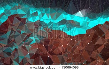Low poly background design in geometric pattern. polygon wallpaper in origami style. polygonal texture illustration in color light blue and brown