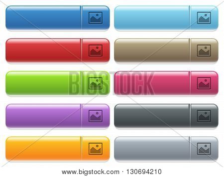 Set of image glossy color menu buttons with engraved icons