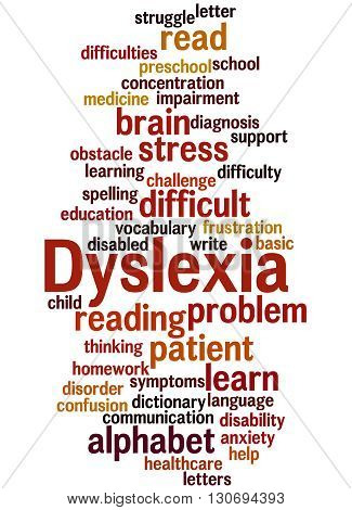 Dyslexia, Word Cloud Concept 8