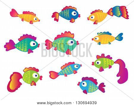 Fish set isolated on white background. Vector Illustration