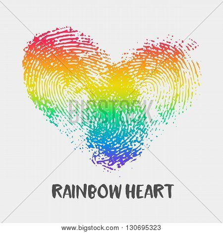 Conceptual logo with fingerprint rainbow heart. Simple flat icon with thumb stamp in rainbow colors of LGBT flag. Gay and lesbian support symbol. Heart mark for posters or prints devoted on LGBT theme