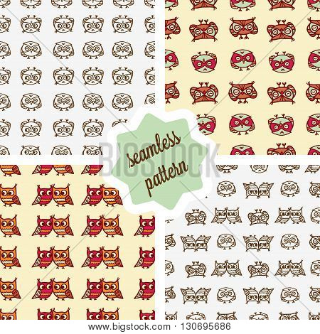 Cute seamless pattern set with little cartoon owls. Stylish graphic design.