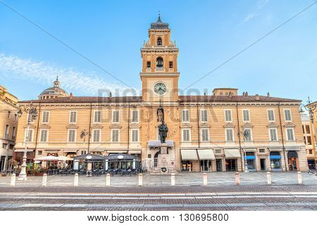 Piazza Giuseppe Garibaldi in the centre of Parma Emilia Romagna Italy