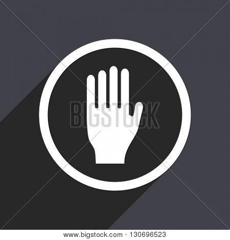 Hand icon. Flat design grey square vector button.