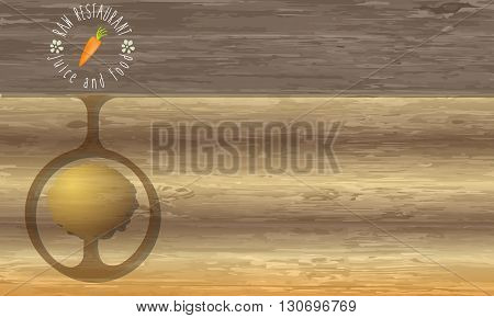 Raw restaurant icon and abstract wooden background