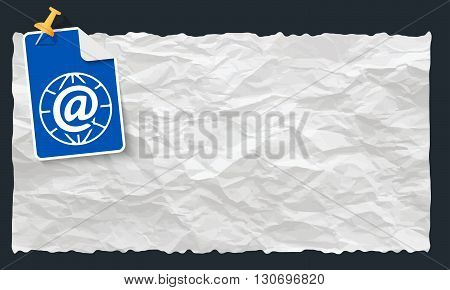 Crumpled paper and globe and email icon
