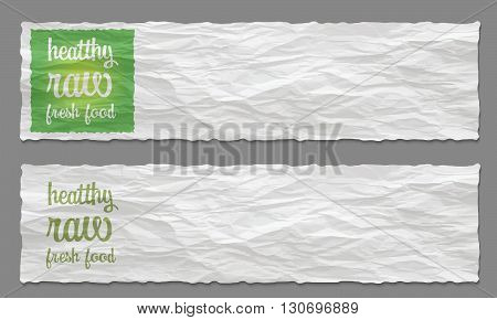 Set of two banners with crumpled paper and healthy food icon