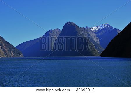 Mountains Mt Pembroke The Lion and the Elephant. Scene in the Milford Sound New Zealand.