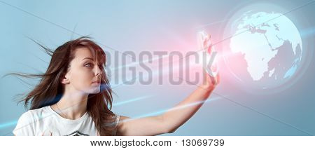 Girl rolling the 3d globe interface