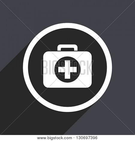 First aid icon. Flat design grey square vector button.