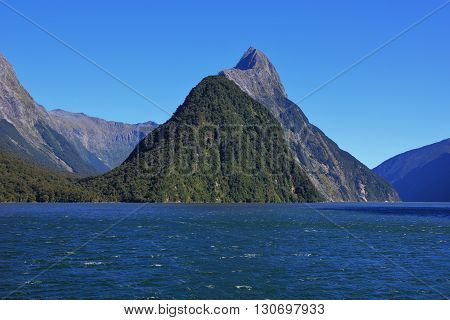 Majestic mountain Mitre Peak. Milford Sound New Zealand.