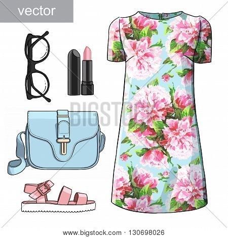 Lady fashion set of spring, winter season outfit. Illustration stylish and trendy clothing. Dress, bag, accessories, sunglasses, slip-on. Flower peony watercolor romantic pattern