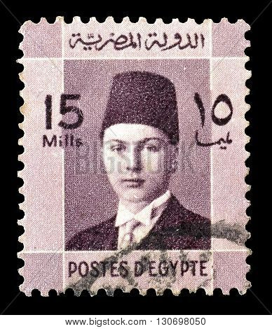 EGYPT - CIRCA 1937 : Cancelled postage stamp printed by Egypt, that shows king Farouk.