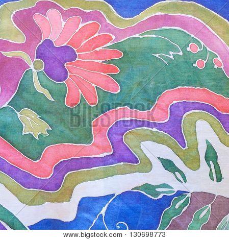 Hand Drawn Colour Floral Ornament On Gray Batik