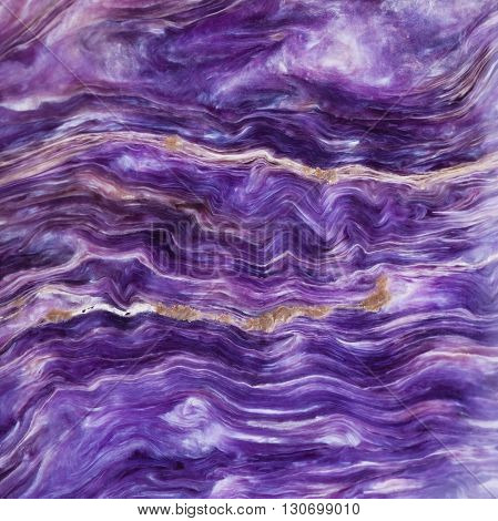 Square Background From Tumbled Charoite Gemstone
