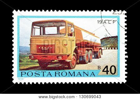 ROMANIA - CIRCA 1975 : Cancelled postage stamp printed by Romania, that shows Gasoline truck.