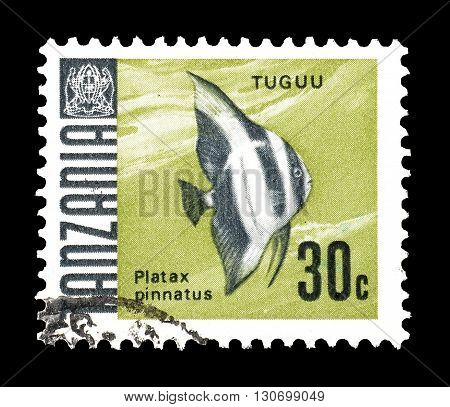 TANZANIA - CIRCA 1967 : Cancelled postage stamp printed by Tanzania, that shows Platax pinnatus.