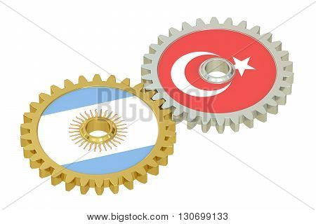 Argentina and Turkey flags on a gears 3D rendering isolated on white background