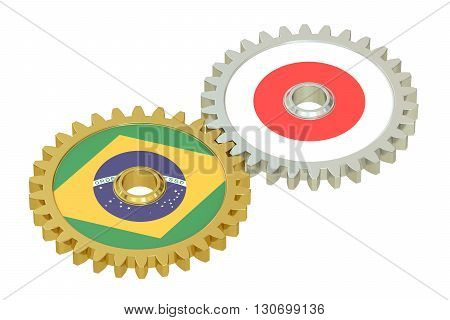 Brazil and Japan flags on a gears 3D rendering isolated on white background