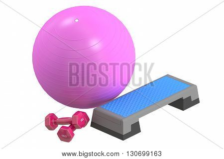 Fitness and sports equipment concept. Aerobic step board dumbbells and fitball 3D rendering