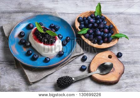 White Milky Creamy Berry Pudding