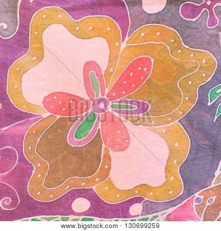 Abstract Flower On Pink Brown Purple Silk Batik