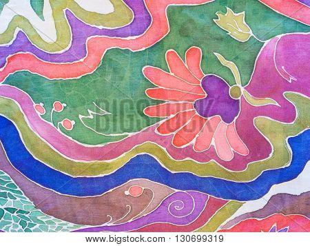 Hand Drawn Colour Floral Pattern On Gray Batik