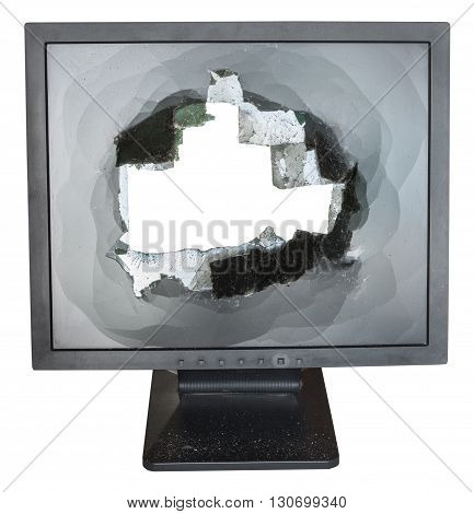 Front View Of Monitor With Cut Out Damaged Screen