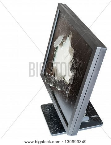 Side Above View Of Monitor With Damaged Screen